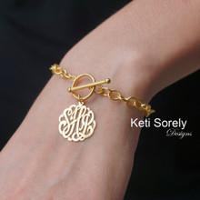 Large Link Toggle Bracelet with Initial Monogram Charm - Choose Metal