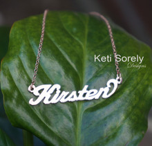 """Handmade Name Necklace """"Kristen"""" Style - Rose Gold"""