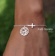 Sideways Cross Bracelet or Anklet with Monogrammed Initials  - Choose Your Metal