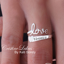 Personalized Promise, Expression or Name Ring with Engraved Name & Heart- White Gold