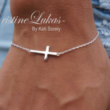 Celebrity Style Sideways Cross Bracelet - Solid Gold or Sterling Silver