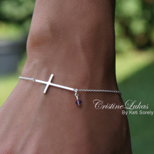 Celebrity Style Sideways Cross Bracelet With Birthstone - Choose Metal