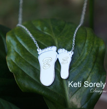 Baby Foot Print Necklace With Initials - Choose Metal