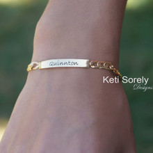 Engraved Name Plate Bracelet  with Large Chain - Yellow Gold