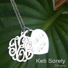 Monogram Initials Pendant with Engraved Name and Date On Heart