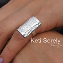 Hand Engraved Rectangle Ring - White Gold