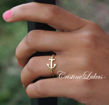 Celebrity Style Sideways Anchor Ring - Sterling Silver, Yellow or Rose Gold