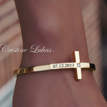 Sideways Cross Bangle With CZ Stone & Engraved Name - Stainless Steel Gold Tone