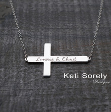 Celebrity Style Engraved Name Cross Necklace -Yellow, White or Rose Gold