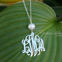 Swirly Monogram Initials Charm with Pearl - White Gold