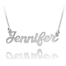 Personalized Hand Cut Name Necklace (Jennifer Style) - Choose Your Metal