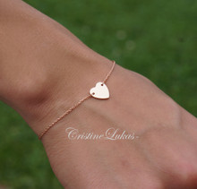 70% OFF - Dainty Heart Bracelet or Anklet - Sterling Silver With Rose Gold