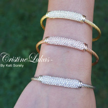 40% OFF -Sideways Bar Bracelet with CZ Stones - Platinum, Rose Gold or Yellow Gold