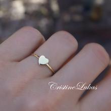 Mini Heart Ring - Stacking Ring - Choose Metal