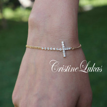 50% OFF - Sideways Cross Bracelet With CZ Stones - 14K Gold Filled