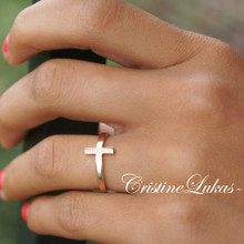 Celebrity Style Sideways Cross Ring - Choose Your Metal
