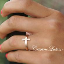 Celebrity Style Sideways Cross Ring - Choose Your Metal