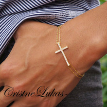 Double Chain Sideways Cross Bracelet with CZ Stones - Choose Your Metal