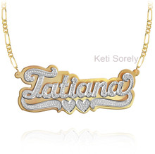 3D Double Plate Name Necklace with Diamond Beading - Sterling Silver w/Gold & Rhodium
