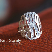 Hand Cut 2-tone Monogram Initials Ring With CZ Stones - Choose Your Metal