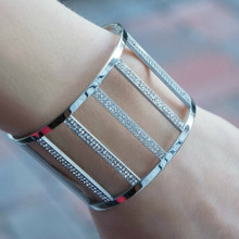 10% off - Cuff Bangle with CZ Stones - Stainless Steel