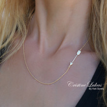 Sideways Arrow Necklace In sterling silver or Solid Gold