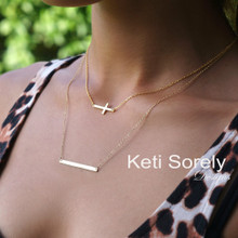 Layered Sideways Bar and Cross Necklace - Yellow Gold