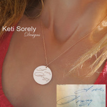 Engraved Handwriting Message Necklace - Disc Necklace - Choose Your Metal