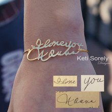 Your Handwritten Message Bangle - Choose Your Metal