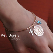 Hand Engraved Monogram Disc Bangle with Cross & Birthstone- Choose Your Metal
