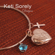 Hand Engraved Monogram Locket Bangle with Cross & Birthstone- Choose Your Metal