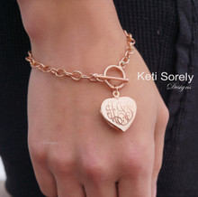 Hand Engraved Locket  Bracelet with Toggle Clasp - Choose Your Metal