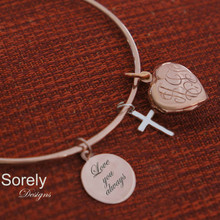Hand Engraved Monogram Locket Bangle with Cross & Message- Choose Your Metal