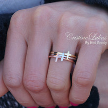 Tri Color Cross Stocking Ring - Yellow, Rose or White Gold