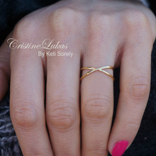 "40% Off - Small Criss Cross Ring - ""X"" Ring - Solid Gold or Sterling Silver"