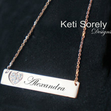 CZ Bar Necklace with Engraved Name & Heart - Choose Your Metal