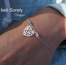 Arrow Bracelet With Heart Shaped Monogram Charm -Choose Your Metal