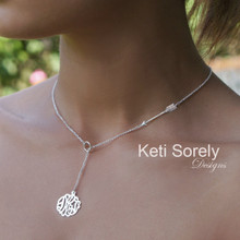 Lariat Monogram Necklace With Arrow Symbol - Choose Metal