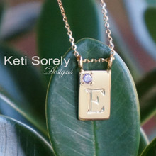 Hand engraved Rectangle Charm Necklace with Birthstone -Choose Your Metal