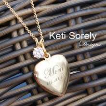 Hand Engraved Heart Locket With Message - Brass With Gold Overlay