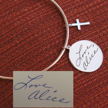 Hand Written Signature Disc Bangle with Cross- Choose Your Metal