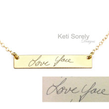 Handwritten Name, Word Or Signature Bar Necklace - Choose Your Metal