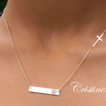 Hand Engraved Monogram Bar Necklace with Sideways Cross -Choose Your Metal