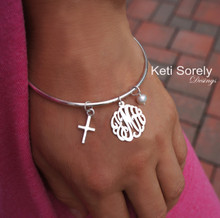 Monogram Initials Bangle with Cross & Pearl - Choose Your Metal