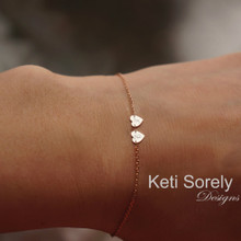 Couples Heart Bracelet or Anklet with Engraved Initials - Choose Your Metal