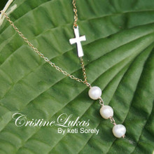Fresh Water White Pearl Bead Necklace with Sideways Cross - Choose Your Metal