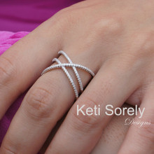 Clearance -  Large Criss Cross Ring with CZ Stones - Sterling Silver