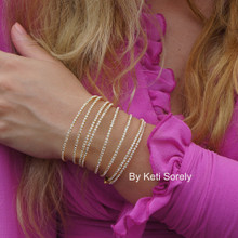 50% off - Multi Wrap Bracelet with CZ Stones - Yellow Gold