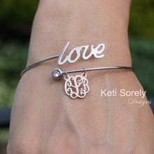 Double Wrap Bangle Bracelet with Monogram Charm -Choose Metal