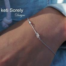 Sideways Arrow Bracelet or Anklet  - Choose  Metal